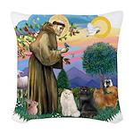 St. Fran (ff) - 3 Persian Cat Woven Throw Pillow