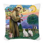 St. Fran (ff) - 2 Siamese (Pr Woven Throw Pillow