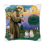 St Fran(f) - 2 Ragdolls Woven Throw Pillow