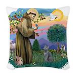 St. Fran (ff) - Russian Blue Woven Throw Pillow