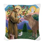 R-St Francis-ShetlandPONY.png Woven Throw Pillow