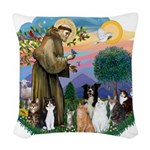 StFrancis-ff-7 cats-BorderCollie.png Woven Throw P