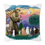 St Francis 2 - 7 Cats.png Woven Throw Pillow