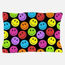 Happy Colorful Smiley Faces Pattern Pillow Case