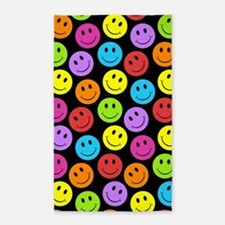 Happy Colorful Smiley Faces Pattern Area Rug