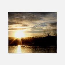 SETTING SUN AT LAKE Throw Blanket