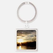 SETTING SUN AT LAKE Square Keychain