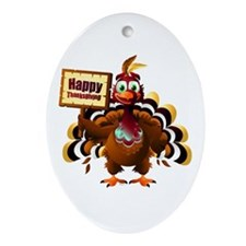 HappyThanksgiving Oval Ornament
