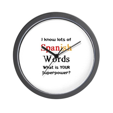 Spanish Words Wall Clock By Alandarco I Know Lots Of Stuff