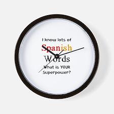 spanish words Wall Clock