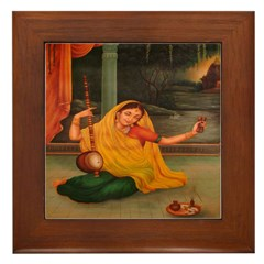 In Union With Krishna Framed Tile