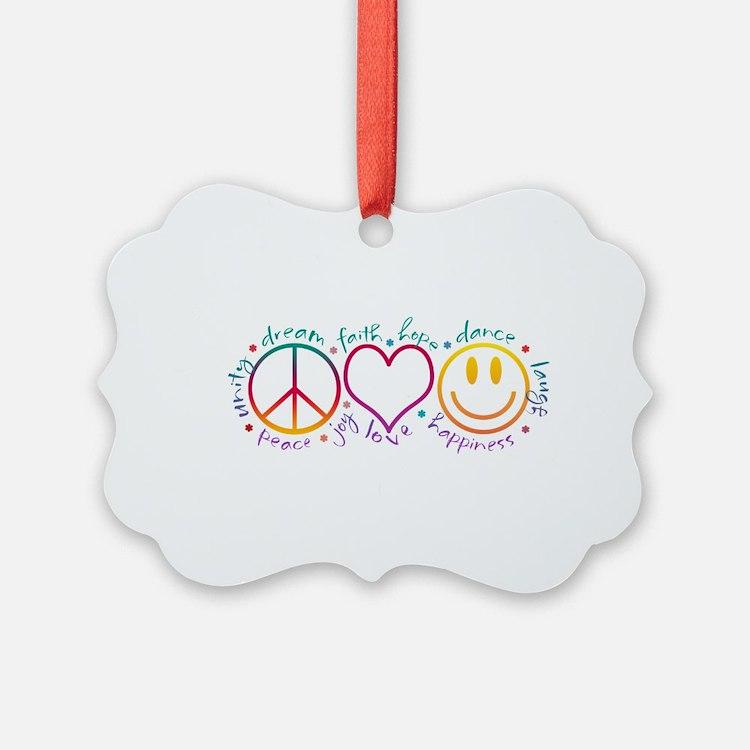 Peace Love Laugh Inspiration Desi Ornament