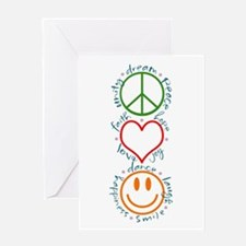 Peace Love Laugh Inspiration Design Greeting Cards