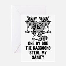 One By One The Raccoons Greeting Cards
