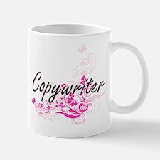Copywriter Artistic Job Design with Flowers Mugs