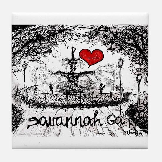 I love savannah Ga Tile Coaster