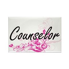 Counselor Artistic Job Design with Flowers Magnets