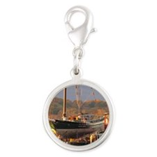 Tug Cornell  With Sloop Clearw Silver Round Charm
