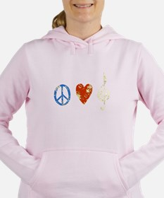Unique Peace love rock Women's Hooded Sweatshirt
