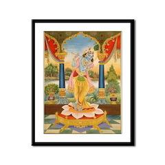 Krishna On Lotus Blossom Framed Print