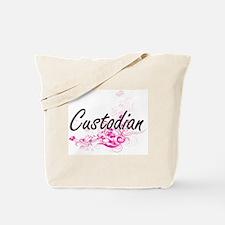 Custodian Artistic Job Design with Flower Tote Bag