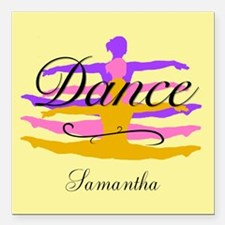 """Yellow Dance Square Car Magnet 3"""" x 3"""""""