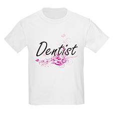 Dentist Artistic Job Design with Flowers T-Shirt