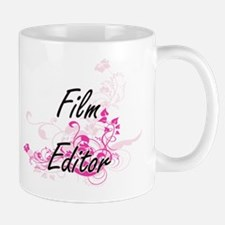 Film Editor Artistic Job Design with Flowers Mugs