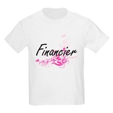 Financier Artistic Job Design with Flowers T-Shirt