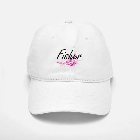Fisher Artistic Job Design with Flowers Baseball Baseball Cap