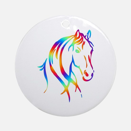 Colorful Horse Head Round Ornament