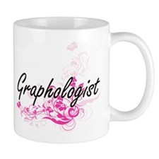 Graphologist Artistic Job Design with Flowers Mugs