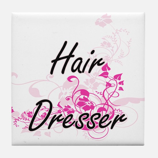 Hair Dresser Artistic Job Design with Tile Coaster