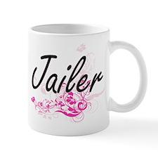 Jailer Artistic Job Design with Flowers Mugs