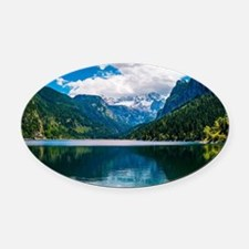Mountain Valley Lake Oval Car Magnet