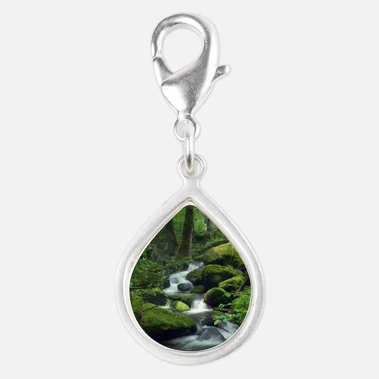 Summer Forest Brook Silver Teardrop Charm