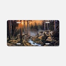 Forest Wolves Aluminum License Plate
