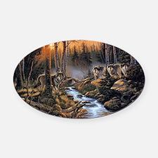 Forest Wolves Oval Car Magnet