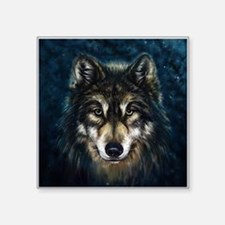 "Artistic Wolf Face Square Sticker 3"" x 3"""