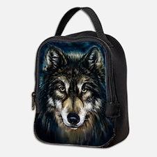 Artistic Wolf Face Neoprene Lunch Bag