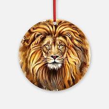 Artistic Lion Face Round Ornament