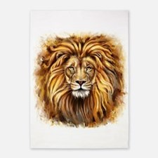 Artistic Lion Face 5'x7'Area Rug