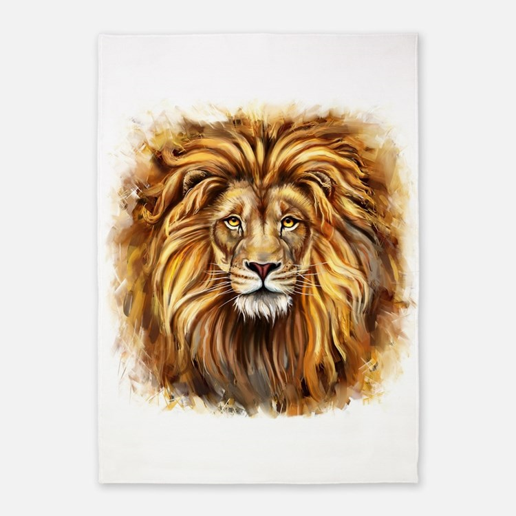Artistic Lion Face 5'x7'Area Rug