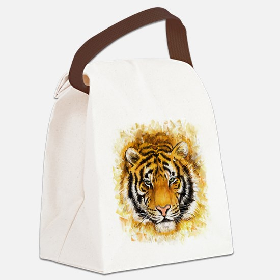 Artistic Tiger Face Canvas Lunch Bag