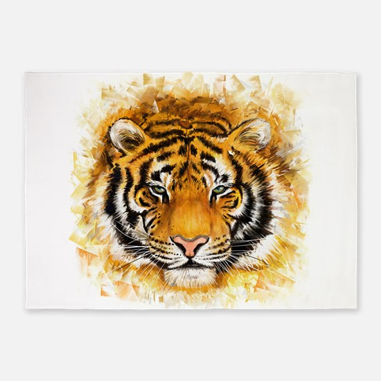 Artistic Tiger Face 5'x7'Area Rug
