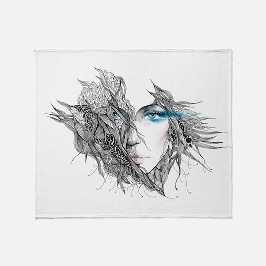 Artistic Female Face Throw Blanket