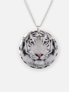 White Tiger Head Necklace