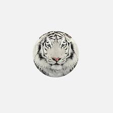 White Tiger Head Mini Button