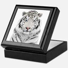 White Tiger Head Keepsake Box