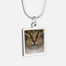 Tabby Cat Face Silver Square Necklace